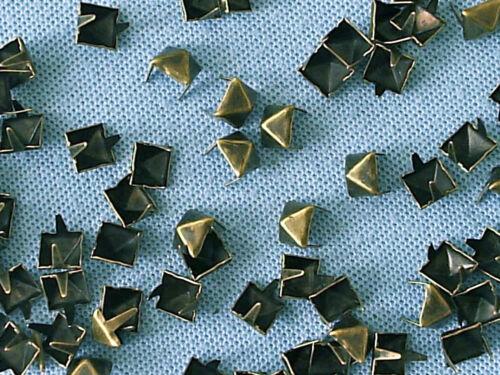 50 x Pyramid Clothing studs antique brass colour 8mm STUD 004