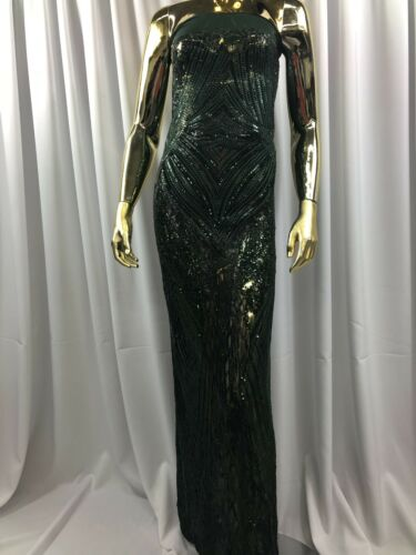 Hunter Green Sequins Fabric 4Way Stretch Embroidery On Power Mesh-Lace-Prom Yard
