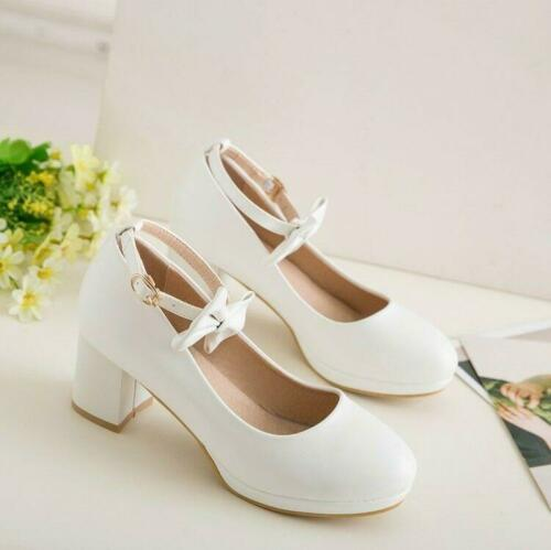 Details about  /Womens Sweet Pink Bowknot Mary Jane Ankle Strap Pumps Mid Heels Lolita Shoes