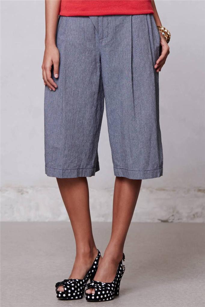 NWT New  Anthropologie Tenaya Cropped Wide-Legs  by Cartonnier Pants Size 4 Sz S