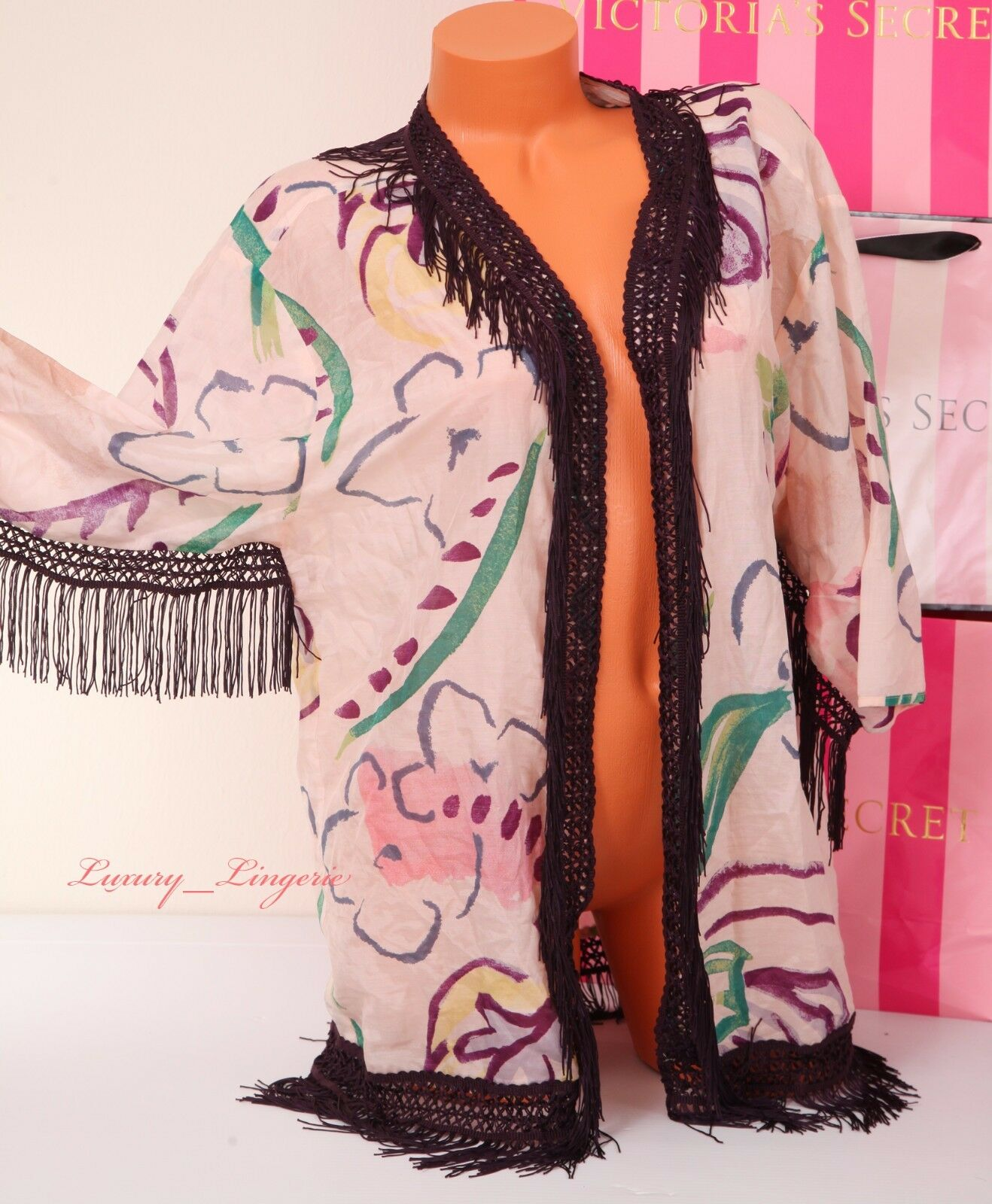 124 VICTORIA'S SECRET Fringe Open Front Cotton-Silk Cover-Up Robe Caftan S