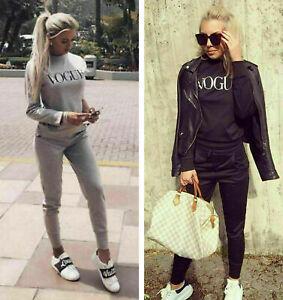 Women Ladies Vogue Co ord Jumper Top Suit Lounge Wear Bottoms Tracksuit 2PCS Set