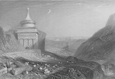 Jerusalem BROOK KIDRON VALLEY ANCIENT TOMB OF ABSALOM ~ 1834 Art Print Engraving