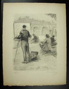 Henri M. Charousset (1876-1964) Le Pont Neuf Et Ses Peintres Gravure Signée 1947