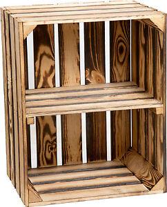 apfelkiste mit fach schuhregal geflammt hochk holzkisten obstkisten weinkisten ebay. Black Bedroom Furniture Sets. Home Design Ideas