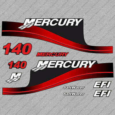 Mercury 135 HP EFI SaltWater outboard engine decal sticker RED set reproduction