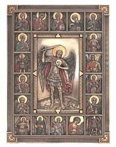 GORGEOUS-Saint-Michael-Archangels-Wall-Plaque-St-Surrounded-By-Angels-Icon