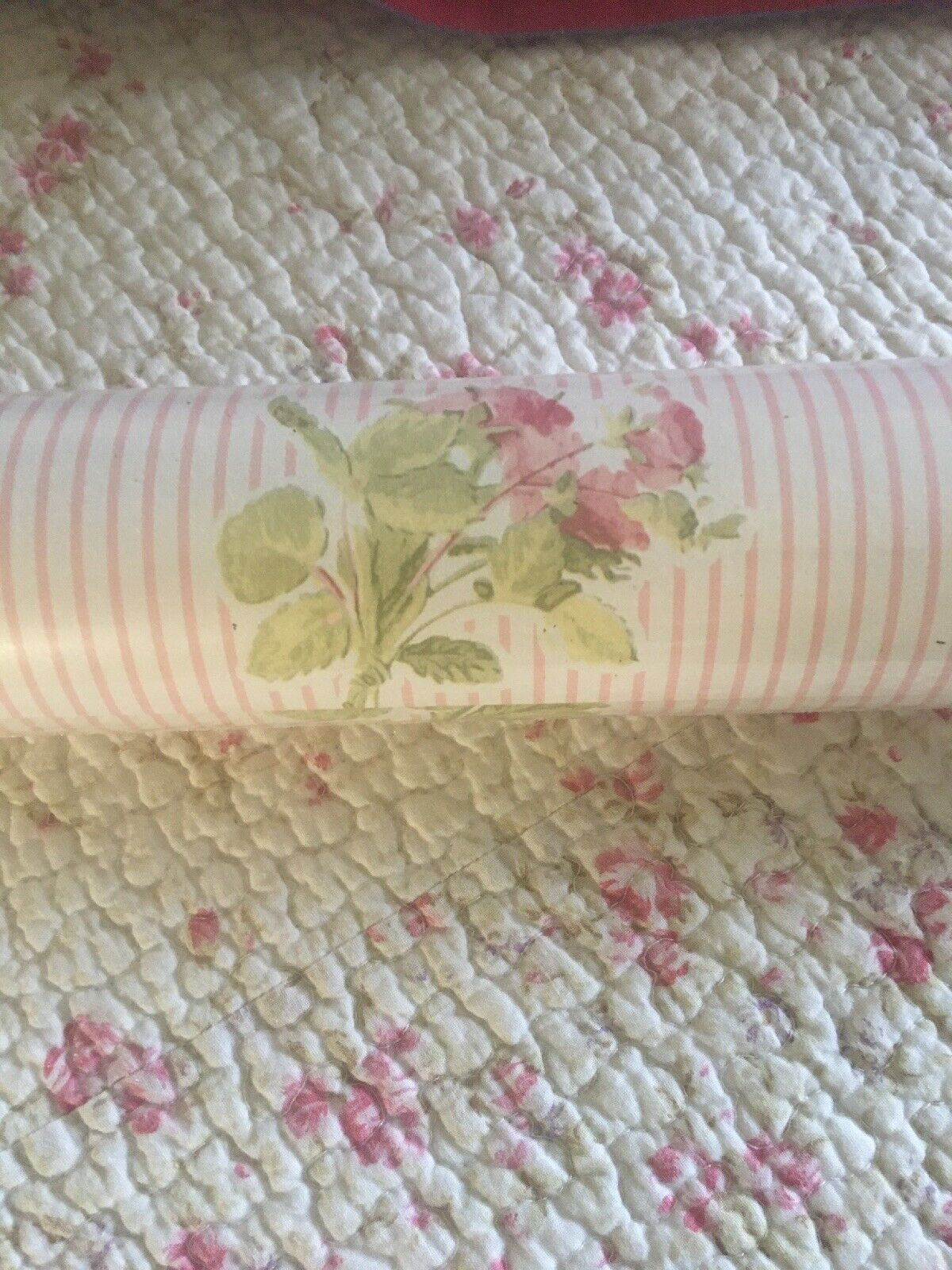 Rare Laura Ashley Wallpaper Floral Stripe Double Roll Sealed For