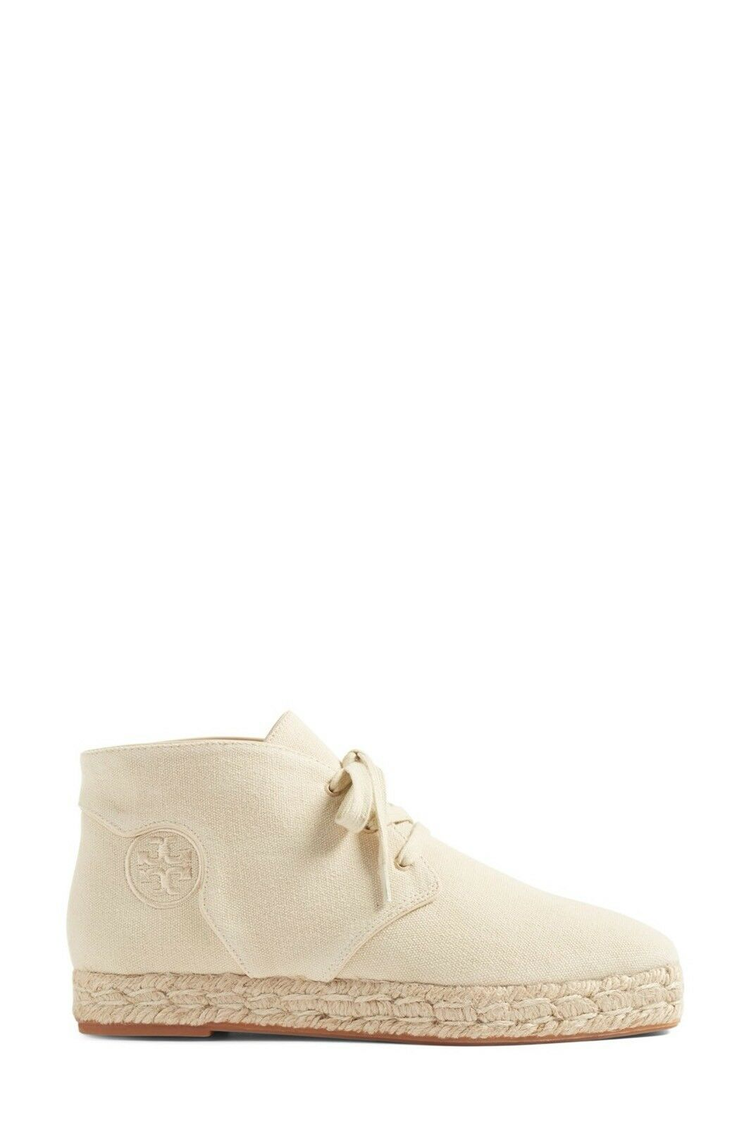 250 NWT Tory Burch Rios Size 7 Lace Up Espadrille Booties Natural Canvas  CREAM
