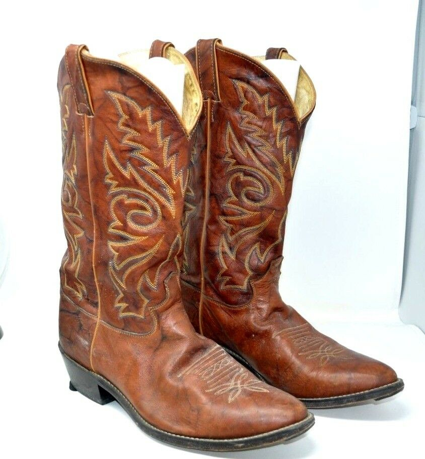 JUSTIN 1560 BUCK CHESTNUT MARBLED LEATHER COWBOY WESTERN BOOTS MEN'S 11 D