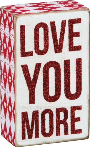 """Primitives by Kathy LOVE YOU MORE Red Glitter Wooden Box Sign 3/"""" x 5/"""""""