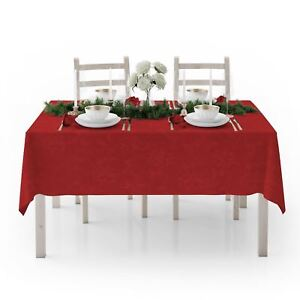 Christmas Tablecloths.Details About Red Christmas Tablecloths Poinsettia Floral Fabric Jacquard Xmas Table Cloth