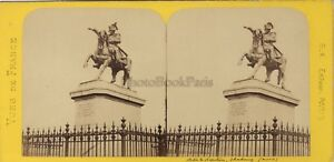 Cherbourg-Statue-Napoleon-France-Photo-Stereo-BK-Paris-Vintage-Albumine-ca-1870
