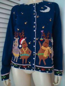Arriviste-Ugly-Christmas-Sweater-L-Reindeer-Appliques-Cardigan-Blue-Ramie-Cotton