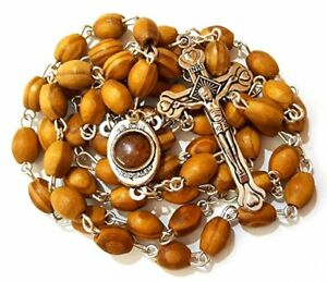 Blessed-Catholic-Rosary-Necklace-Olive-Wood-Oval-Beads-Jerusalem-Soil-Crucifix