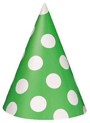 GREEN POLKA DOTS - 8 Party Hats - Spots Birthday party