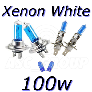 Xenon White Upgrade Headlight Bulbs Package 447 448 501 H7 H1 100W