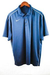Nike-Dri-Fit-Mens-Large-Short-Sleeve-Dark-Blue-White-Golf-Polo-Shirt