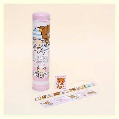 CUTE SAN-X RILAKKUMA STATIONERY SET (TIN TUBE/PENCIL/RULER/ERASER)/ KIDS GIFT #A