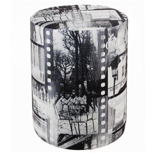 Sitzhocker Hocker bedruckt Paris schwarz-weiß stylish  Ø 34 cm x 44 cm KAIKOON