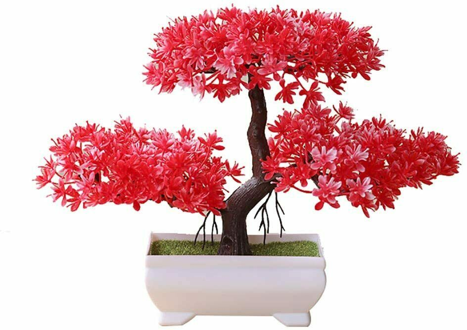 Fake Bonsai Tree Plastic Ornament Artificial Potted Plant For Home Office Decor Home Garden Floral Decor