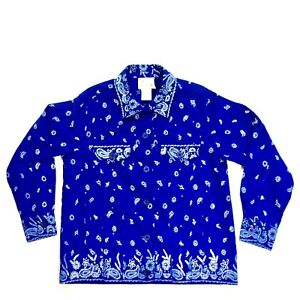 Details about Quacker Factory Womens Jacket Beaded Rhinestone Bandana  Paisley Blue Size S