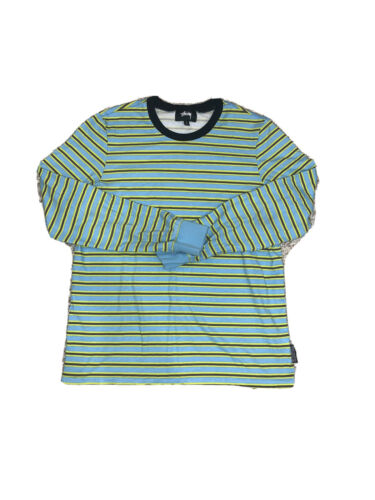 Stussy Long Sleeve Baby Blue & Yellow Striped T Sh