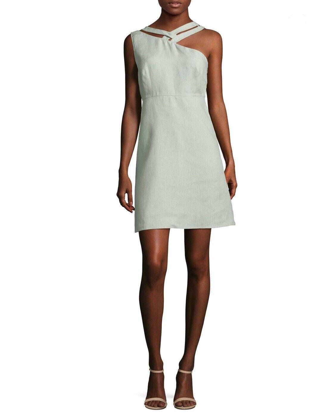 Valentino Ausschnitt Gewoben Tiglio Farbe Flax Kleid Größe 6 Us   42 Eu