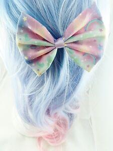Kawaii pastel galaxy nebular handmade medium hair bow hair for Pastel galaxy fabric