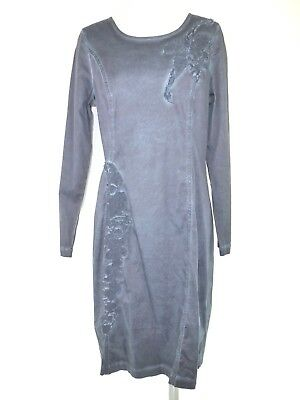 Honesty Cream Damen Kleid Gr M 38 Blau Blumen Langarm Shirtkleid Bestickt Np 89 Neu Dresses