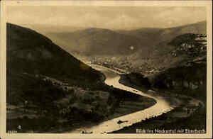 Neckartal bei Eberbach alte Ansichtskarte 1938 gelaufen Blick ins Tal Panorama