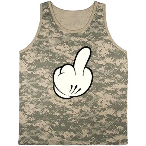 Men/'s tank top middle finger funny shirt army digital camo design tee shirt