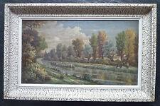 """Eugène MINAULT (1880-1952):huile,""""Le canal latéral à la Loire"""", signée, cadre"""