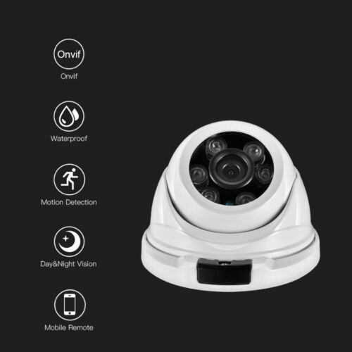 2.8mm Wide-angle Full HD 1080P 2MP Dome Security IP Camera Waterproof 48V POE