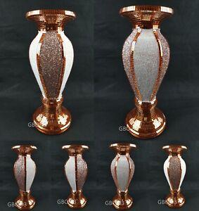 Flower Vase Flower Pot Crushed Diamond Mirror Effect Home Decor Diamante Ceramic