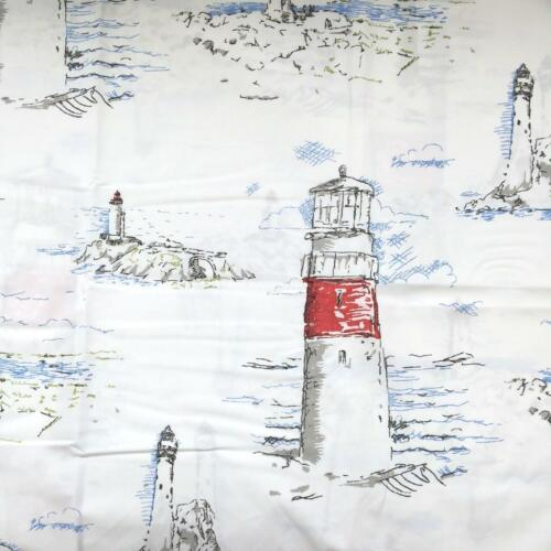 Pottery barn Queen LIGHTHOUSE PRINT Duvet cover only grey red white blue