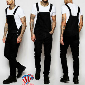 Mens-Denim-Dungaree-Overalls-Pants-Trousers-Work-Jumpsuit-Ripped-Cargo-Jeans-US