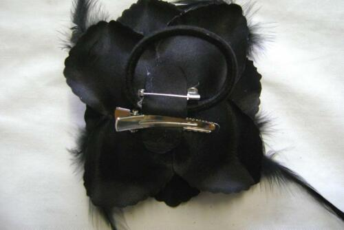 3 COAL BLACK  GLITTER FLOWER CORSAGE BROOCH CLIP 3UCB