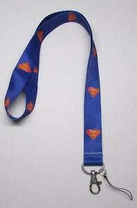 Blue-SUPERMAN-LANYARD-KEY-CHAIN-Ring-Keychain-ID-Holder-NEW