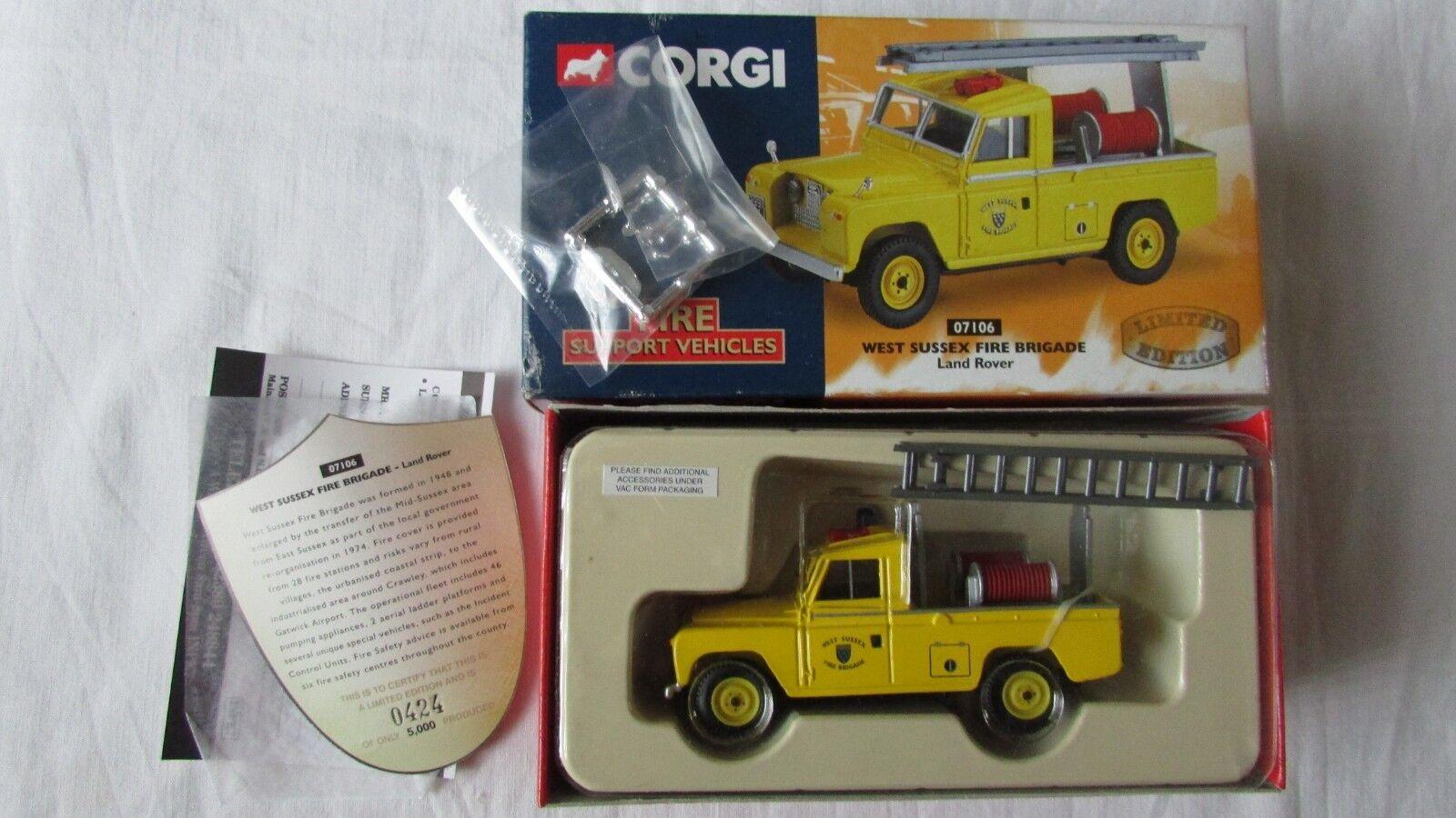Corgi fire support vehicle 07106 west sussex land rover Ltd Edition FREEPOST NOS