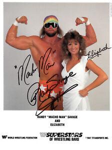 Macho-Man-Randy-Savage-amp-Elizabeth-Autograph-Pre-Print-Wrestling-8x6-WWF-WCW