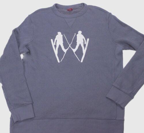 Mens MERONA Distressed Ski Print Crew Neck Sweatshirt Cotton Loop Back S M XL