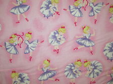 BALLERINA DANCE RIBBONS PINK COTTON FLANNEL FABRIC FQ