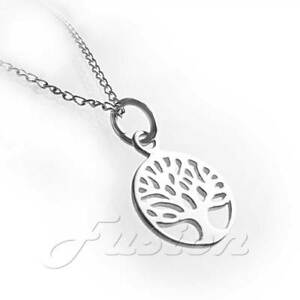 Solid-925-Sterling-Silver-Tree-of-Life-Pendant-Charm-Necklace-amp-Curb-Chain-P073