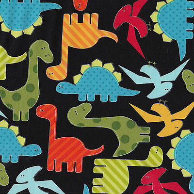 Dinosaurs Black Boys Kids Urban Zoologie Ann Kelle Quilt Fabric FQ or Metre NEW