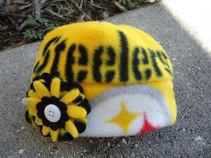 d53f2e55 Details about SALE Pittsburgh Steelers NFL Fleece Flower Hat Sizes Newborn  baby girls & Women