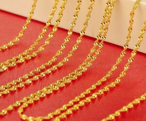 18k-Yellow-Gold-Mens-Womens-Wave-Snake-Link-Chain-Necklace-20-034-24-034-30-034-GiftPkg