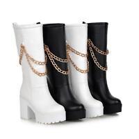 Fashion Damen Schuhe Stiefel Boots schwarz weiß Schlupfstiefel Plateau  Gr.34-46