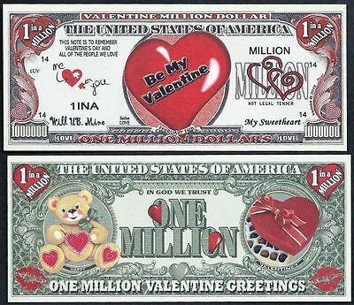 FREE SLEEVE Valentines/' Day Heart Million Dollar Bill Funny Money Novelty Note