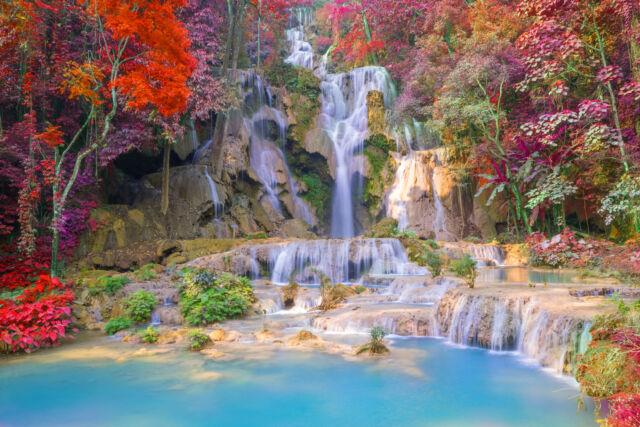 stunning garden waterfall | STUNNING Japanese Garden Waterfall Zen Canvas #391 Wall ...